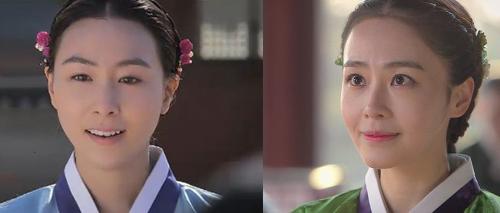 La reine Ingyeong et la reine Inhyeon, telles qu'elles apparaissent dans Jang Ok Jeong