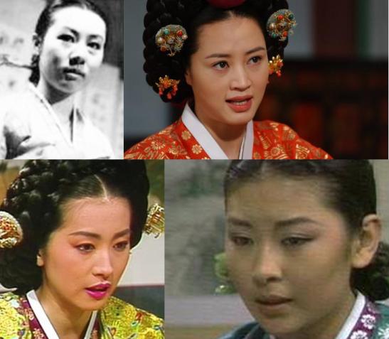 Les différentes interprétations de Jang Hui Bin : Yoon Yeo Jeong (1971), Kim Hye Su (2002), Jean In Hwa (1988) et Lee Mi Sook(1981)