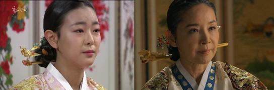 La reine JangRyul A gauche, à 15 ans telle qu'elle apparaît dans le k-drama Cruel Palace A droite, dans Jang Ok Jeong, vieille grand-mère amère de perdre le pouvoir