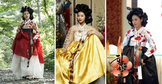 Quelques unes des magnifiques tenues portées par Ha Ji Won dans le drama. Selon la légende, la véritable Hwang Jin Yi portait plutôt des tenues simples et très peu de maquillage, pour mieux faire ressortir sa beauté en comparaison des autres GiSaeng.